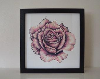 Framed Rose print. Unique rose art gift. Pink rose home decor. Rose wall art. Rose illustration print.