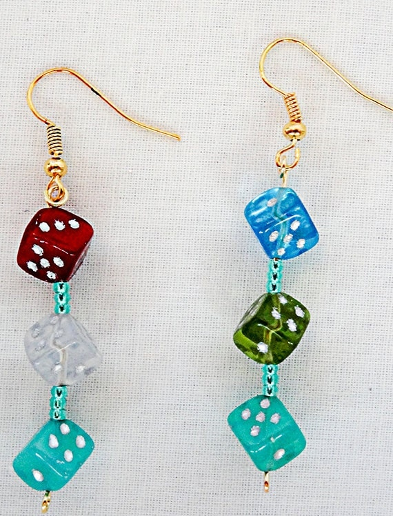 dice earrings dice jewelry gambler earringgambler jewelry