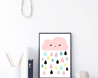 Nursery Wall Art - Nursery Decor - Kids Room Decor - Baby Gift - Printable Kids Gift - Pink Kawaii Cloud Art - Baby Wall Art