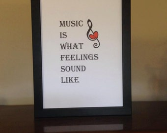 Painting of Music. Music Is What Feelings Sound Like. Music Print. Music Quote. Treble Clef with Heart. Painting of Music with Quote