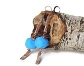 Boho tribal earrings faceted stone, Stone earrings, Ethnic earrings, Blue faceted earrings, Rustic boho dangles
