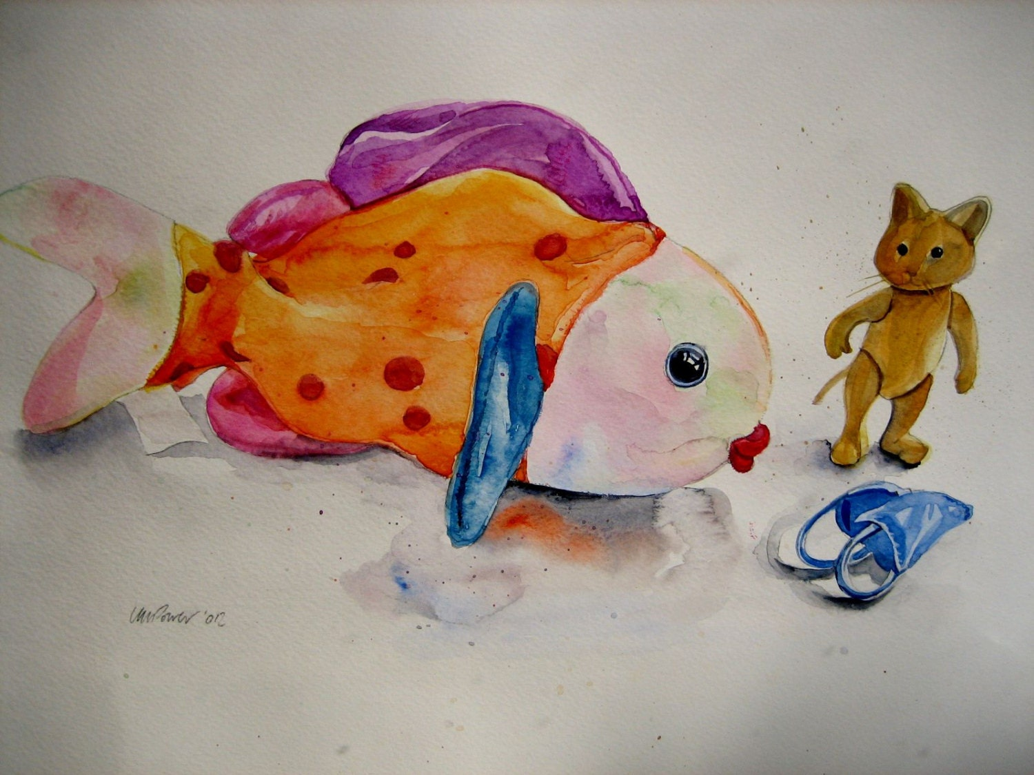 Beanie baby fish and sylvanian cat original by for Fish beanie baby