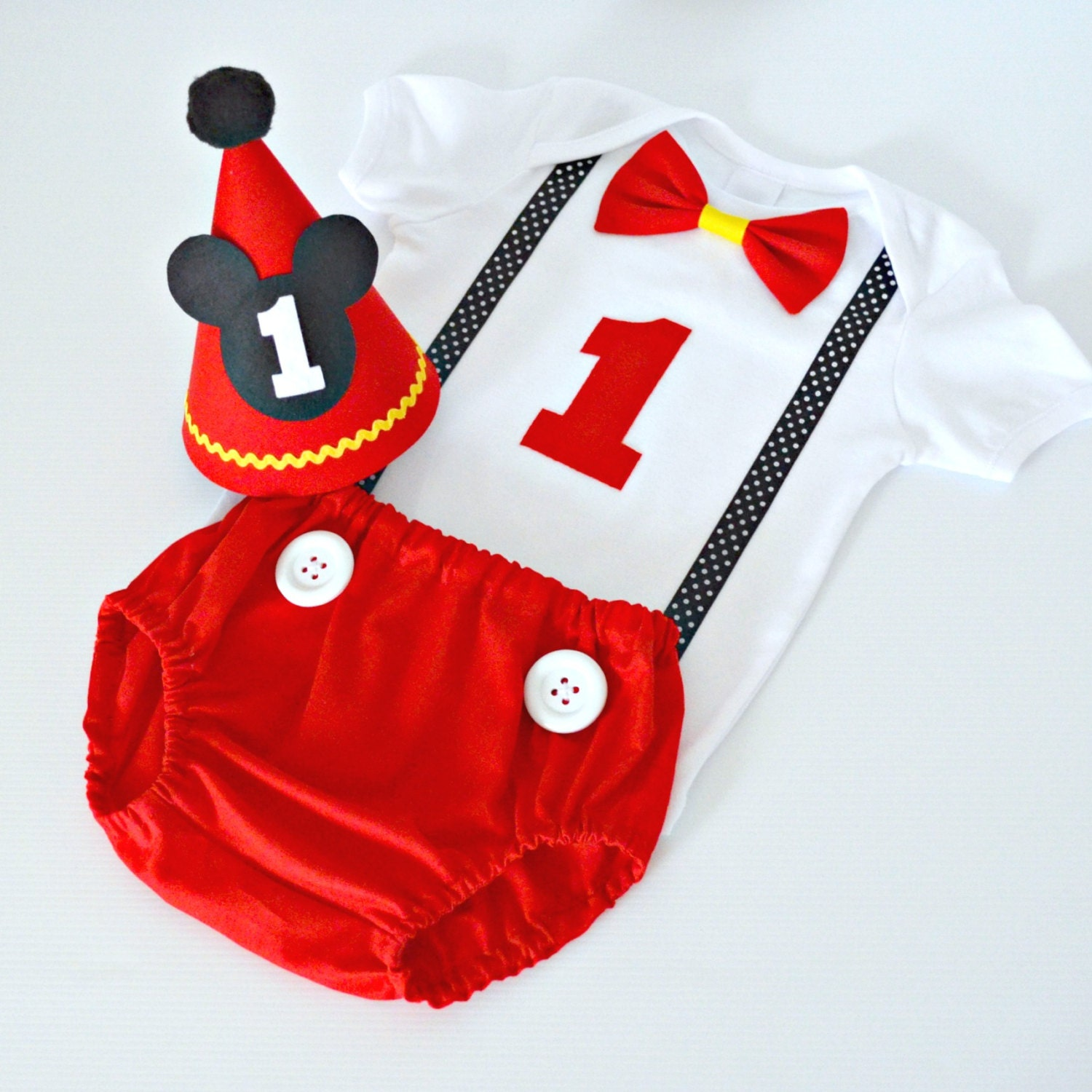 Mickey Mouse Smash Cake: Mickey Mouse 1st Birthday / Cake Smash Outfit By