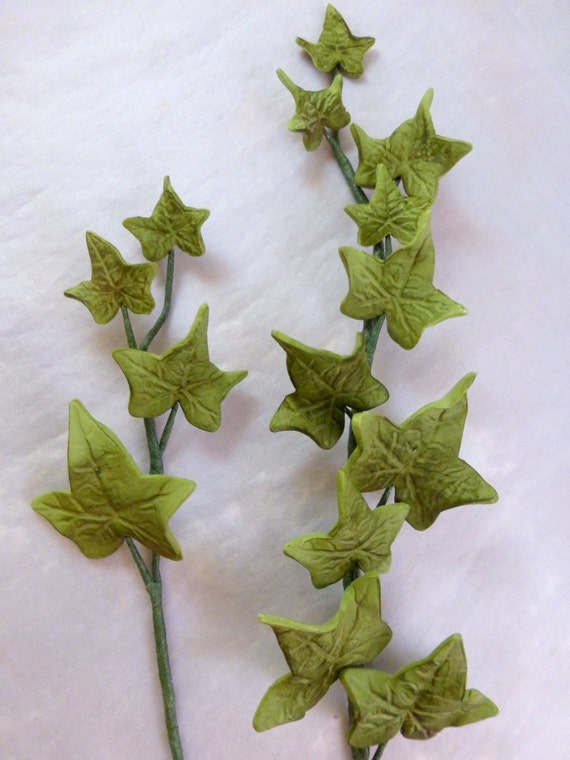 Cake Decorating Ivy Leaves : 1 count Gumpaste Ivy spray sugar ivy for cake by GoodnessCakes