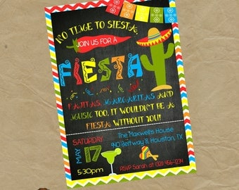 FIESTA Party Invitation - Adult Birthday