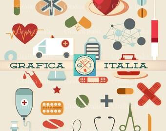 Medical Clipart  - Doctor Nurse Health Clip Art - 32 Item Digital Download Graphic Design Elements - Collage Scrapbooking DIY Flyers