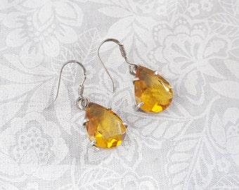 Raindrop Faceted Honey Quartz Earrings / 925 Sterling Silver / November Birthstone / Sale!