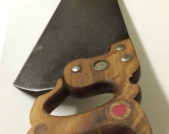 Vintage E. C. Atkins hand saw No. 54 medallion pat 1887 10 TPI with original custom handle.
