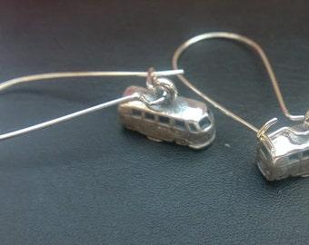 Silver Splitscreen VW Bus Charm Earrings