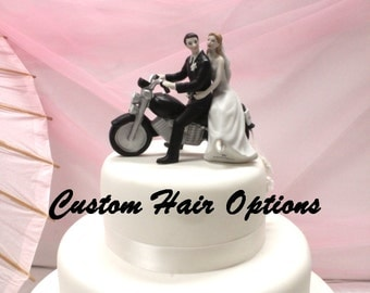 Wedding Cake Topper - Personalized Motorcycle Couple - Bride and Groom Wedding Cake Topper - Biker Theme Wedding -  Motorcycle Cake Topper