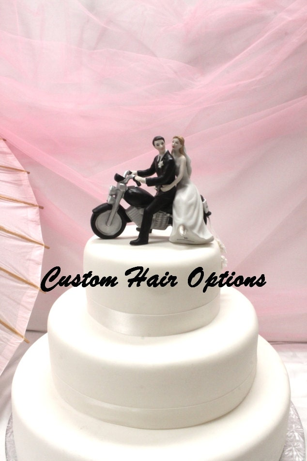 Wedding Cake Topper Personalized Motorcycle Couple Bride