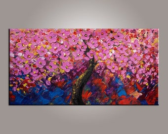 Tree Painting, Flower Tree Painting, Canvas Art, Oil Painting, Wall Art, Abstract Art, Canvas Painting, Original Painting, Abstract Painting