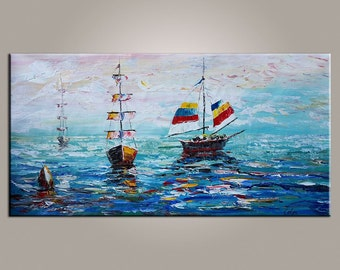 XL Oil Painting, Sailing Boat Painting, Canvas Art, LARGE Art, Original Art, Contemporary Art, Abstract Art, Large Painting, Canvas Painting