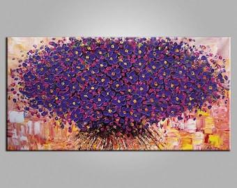 Flower Painting LARGE Painting Wall Art Canvas Art Original Art Contemporary Artwork Abstract Art Impasto Texture Palette Knife Art