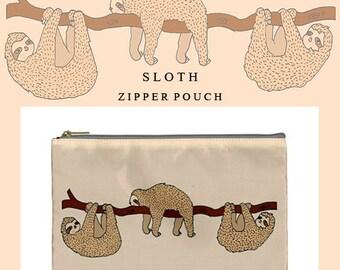 Sloth bag,sloth,makeup bag,bag,ziper pouch,pencil case,cute,kawaii,cute makeup bag,illustration,clutch,travel,make up bag,zipper,sloths,s5,6