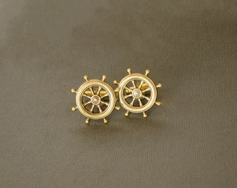 Men's Cufflinks Ship Wheel Cufflinks Nautical Military Sailor Steampunk Cufflinks Antique Brass Gifts for Him Men's Gifts