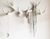 ANY COLOR or WHITE Antler Wall Mount // Rustic Wall Hook // Faux Deer Antler Wall Hook // Faux Taxidermy Wall Decor // Jewelry Holder