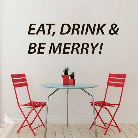 Eat Kitchen Decor Wall Decal : Wall decals quotes eat drink and be merry cafe kitchen decor