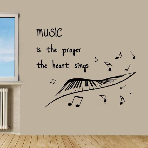 Wand aufkleber zitat musik ist dass das gebet das herz noten for Innenarchitektur zitat