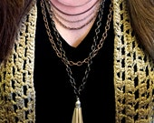 Layered and Long Silver & Antique Copper Tassel Necklace, Trending Accessories, Tiered Necklace