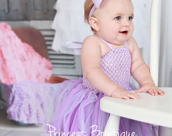 Simple Lavender Baby Tutu Dress  Pink Tulle Baby Tutu and  Flower Headband First Birthday outfit Tulle Infat Toddler little girl dress