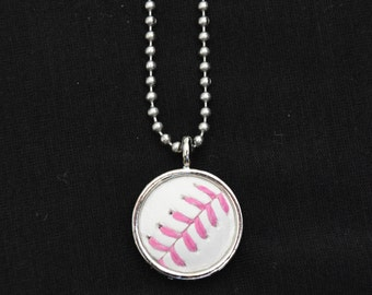 Baseball Necklace- Pink Stitches Limited Edition- Round 3/4 inch, Metal Back