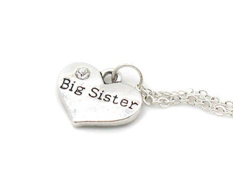 Big Sister Necklace, Charm Necklace, Charm Jewelry, Big Sister Pendant, Sister Jewelry, Big Sister Jewelry, Jewelry Gift, Gift Under 20