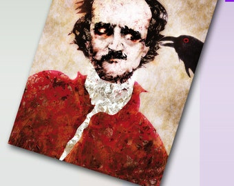Edgar Allan Poe - The Raven - art postcard by Rufus Krieger - Limited Edition - Din A6 - 5.83 x 4.13 inch, 148 x 105 mm, 350 g/m