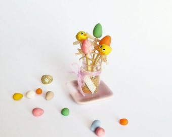 1:12 Dollhouse miniature Easter decoration / Easter miniature scale one inch / Dollhouse Miniature Easter decoration / Dollhouse Easter