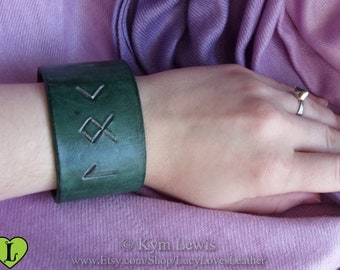 Loki Bracelet, Green and Silver, Leather Wrist Cuff, Norse Runes, Carved Leather, Loki Cosplay, Norse God Runes, Green Leather