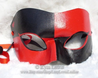 Harlequin Mask, Red and Black, Leather Masquerade Mask, Hero Mask, Villain Mask, Super Cosplay Costume, Masked Ball, Masquerade Domino Mask