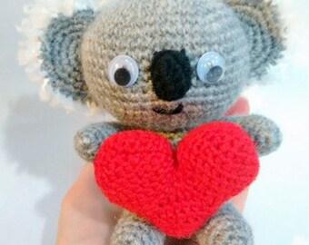 Amigurumi koala with heart doll - MADE TO ORDER -