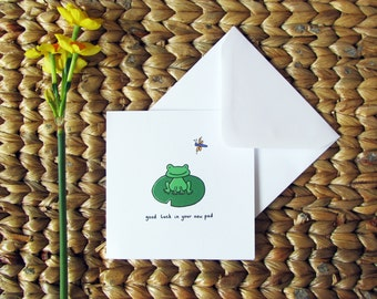 Good luck in your new pad - housewarming card with frog illustration