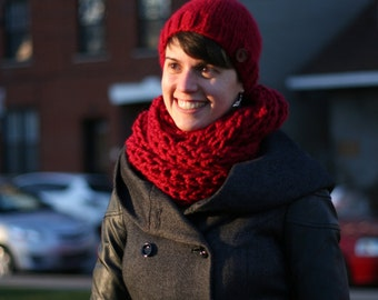 MADE TO ORDER - Winter Hand Knit Cowl, Chunky Hand Knit Cowl, Infinity Scarf, Many Colours Available