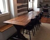 Trestle X Farmhouse Table with Reclaimed Wood