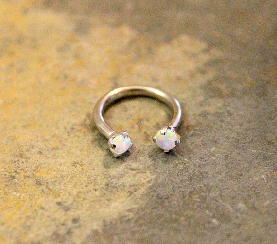 white opal hoop 16g lip ring cartilage septum helix