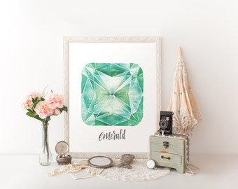 Emerald May Birthstone Printable Art // handlettered, modern calligraphy // home art, office, nursery, wall print // Hewitt Avenue