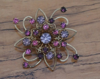 Vintage  Jewelry Brooch Pin CZ Aurora Borealis Pink Stones  E-084