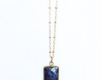 Lapis Lazuli Necklace - 14k Gold Fill - Rectangle Pendant - Dark Blue Necklace - Sapphire Alternative - September Birthstone - Long Necklace