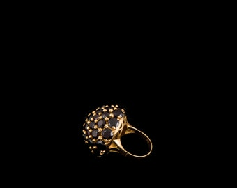 Chunky 18K Gold Ring with Garnets