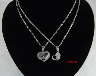 Heart necklace, stainless steel love necklace, couples heart necklace, steel couples necklace, engagement gift, anniversary gift, NE608