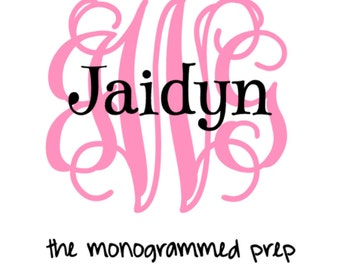 Vine Monogram Car Decal with Name, Monogrammed Car Deal, Name Decal, Trunk Sticker, Cooler Sticker