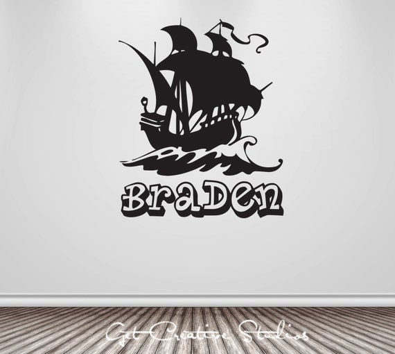 pirate decal ship nautical wall decal personalized wall. Black Bedroom Furniture Sets. Home Design Ideas