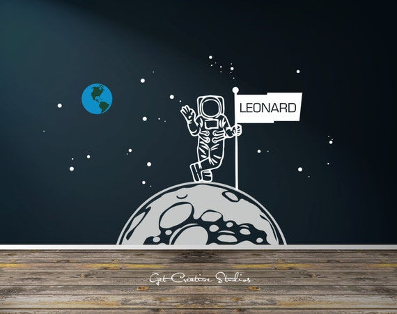 Space Ship Decal Astronaut Decal Moon Decal Astronomy Decor