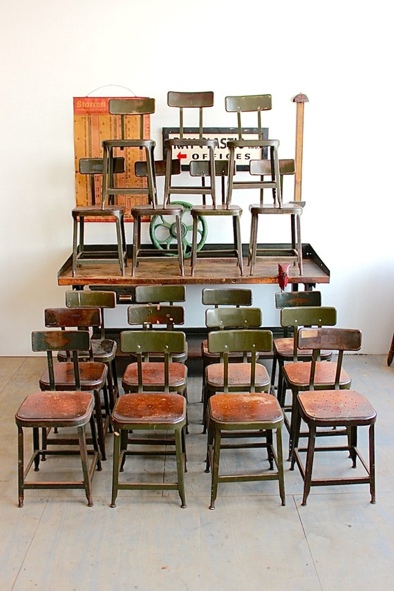 Vintage Industrial Lyon Stool Chair W Green Steel 40