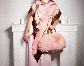 Felted wool scarf-Nuno felted scarf-Art rose shawls- Felted shawl-Pink brown