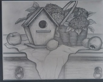 "original artwork, OOAK, graphite ""Birdhouse"""