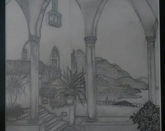 "original artwork, OOAK, graphite ""Palazzo"""