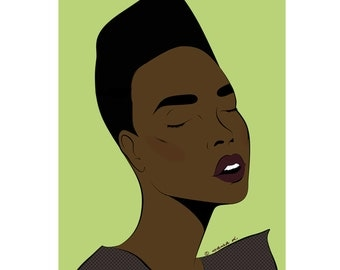 Sienna Grace Jones-inspired pop art girl poster print