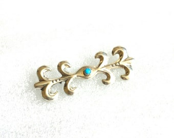vintage signed 925 R. sterling silver turquoise brooch pin / vintage jewelry